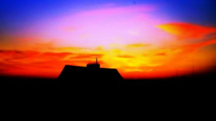 Sunset silhouette houses colors skies wallpaper