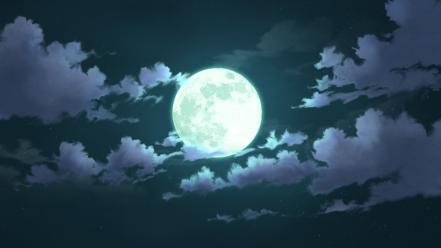 Clouds night moon skies wallpaper