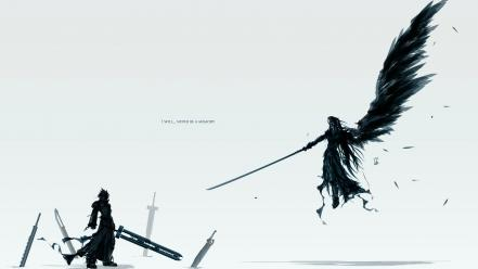 Final fantasy sephiroth cloud strife simple background white wallpaper