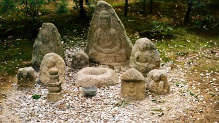 Japan landscapes trees rocks buddha buddhism asia statues wallpaper