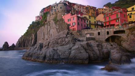 Mountains cityscapes houses rocks buildings italy cities wallpaper