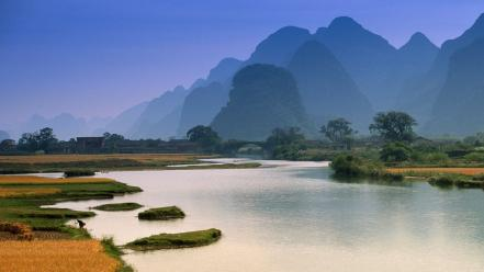 Sun trees plants thailand villages rivers vegetation Wallpaper