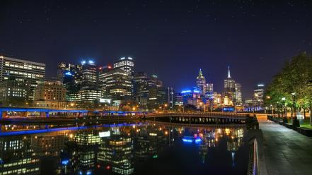 Water cityscapes stars architecture town skyscrapers cities wallpaper