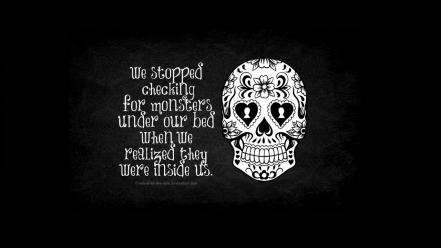 Abstract skulls monsters quotes artwork wallpaper