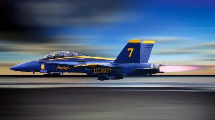 Blue airplanes angels widescreen wallpaper