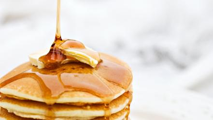 Food pancakes maple syrup butter wallpaper