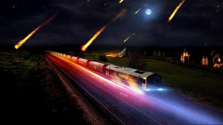 Lights forest moon railroad tracks asteroids burning wallpaper