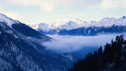 Mountains clouds landscapes snow trees china wallpaper
