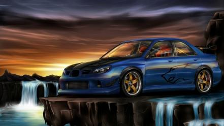 Paintings cars waterfalls subaru impreza wrx wallpaper