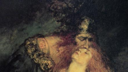 Paintings mythology brunhilde wotan ferdinand leeke wallpaper