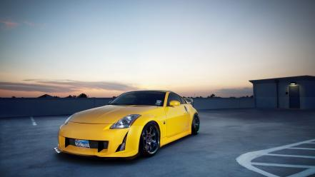 Sunset cars parking tuning nissan 350z Wallpaper