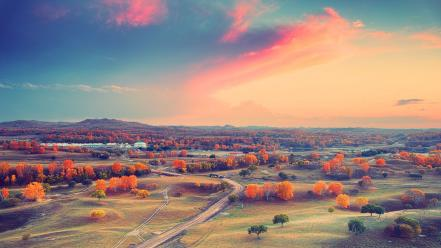Sunset clouds landscapes trees autumn wallpaper