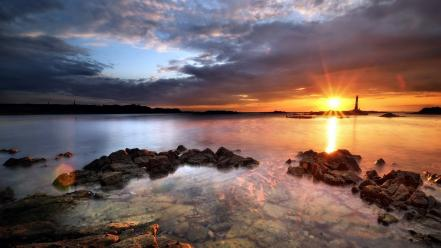 Sunset landscapes nature rock stones lighthouses sunlight sea wallpaper