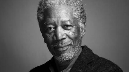 Black and white grayscale actors morgan freeman wallpaper