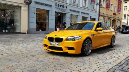Bmw streets cars yellow german Wallpaper