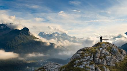 Mountains clouds landscapes nature bench national geographic italy wallpaper