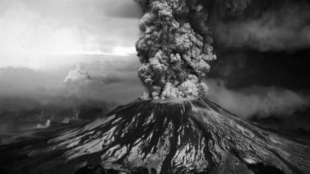 Nature volcanoes grayscale wallpaper