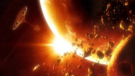 Outer space planets station science fiction asteroids ...