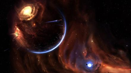 Outer space stars planets digital art alpha sector wallpaper