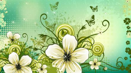 Flowers vector digital illustration computer graphics vines wallpaper