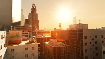 Mirrors edge buildings sunlight wallpaper
