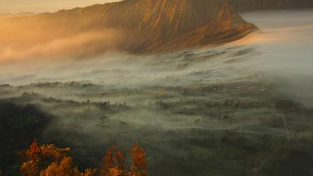 Sunrise landscapes nature volcanoes national geographic indonesia wallpaper