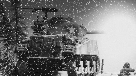Tanks grayscale snowflakes world war ii wallpaper