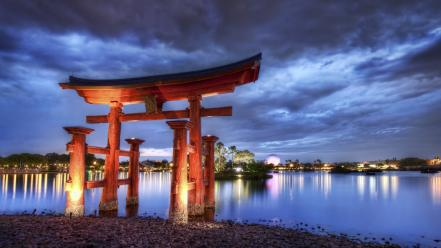 Water japan torii japanese architecture wallpaper
