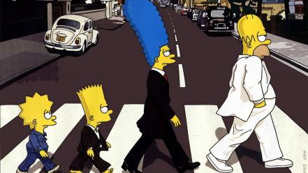 Abbey road homer simpson the simpsons Wallpaper