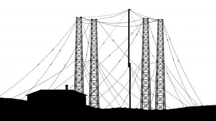 Black and white xkcd tower wallpaper