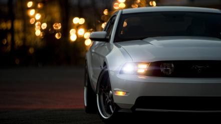 Cars muscle white headlights ford mustang 5.0 wallpaper