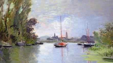 French rivers traditional art claude monet impressionism Wallpaper