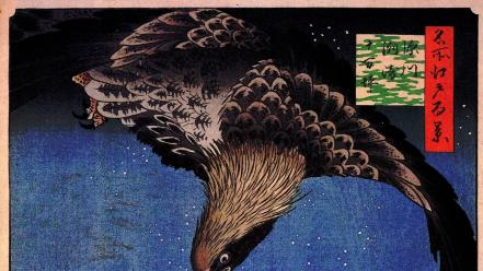 Japan paintings birds japanese eagles artwork hiroshige Wallpaper