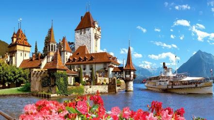 Mountains clouds landscapes castles europe boats switzerland wallpaper