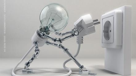 Robots digital art light bulbs wallpaper