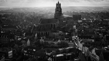 Black and white church cities wallpaper