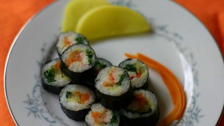 Food sushi korean plates wallpaper