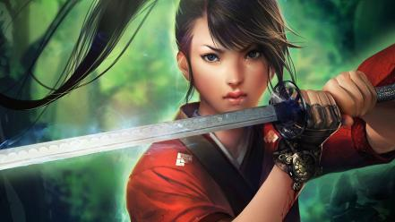 Katana fantasy art black hair wallpaper