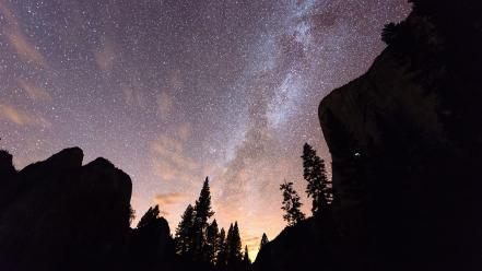 Mountains trees stars skies wallpaper