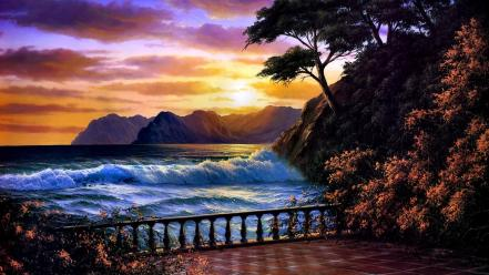 Paintings landscapes drawings skies sea wallpaper