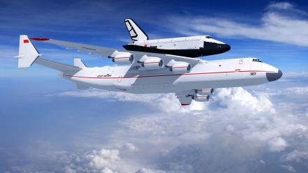 Aircrafts flight antonov an-225 buran shuttle skies Wallpaper