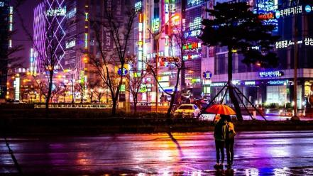 Buildings korean asia vehicles umbrellas south korea wallpaper