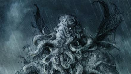 Cthulhu fantasy art creatures great one wallpaper