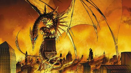 Dragons buildings michael turner soulfire image comics wallpaper