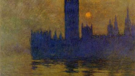 Paintings house of parliament claude monet impressionism Wallpaper