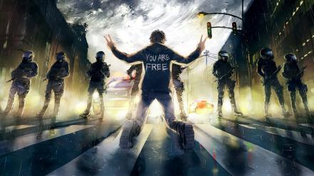 Riot police protest rise wallpaper