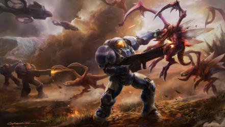 Zerg terran battles science fiction starcraft ii Wallpaper