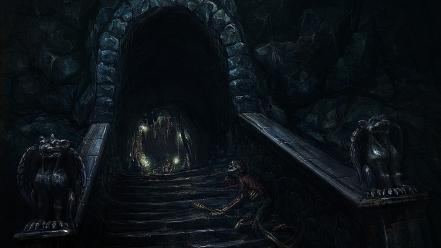 Creepy cave dark statues corpse wallpaper