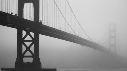Fog bridges golden gate bridge grayscale wallpaper