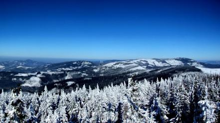 Mountains landscapes winter forest skies wallpaper